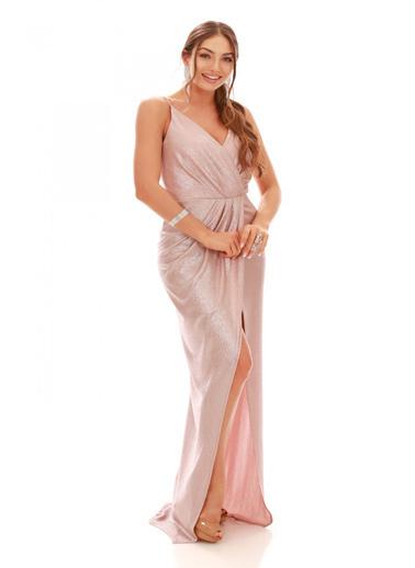 Carmen Somon Laklı Şifon Kruvaze Yırtmaçlı Abiye Elbise Somon